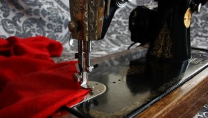 red cloth on sewing machine